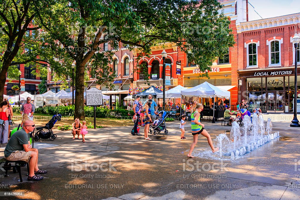 People in Market Square on market day in Knoxville, TN stock photo