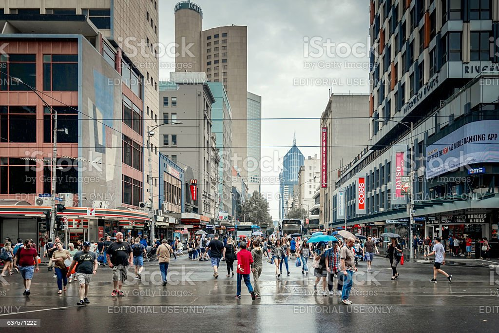 People in Melbourne City Business District stock photo