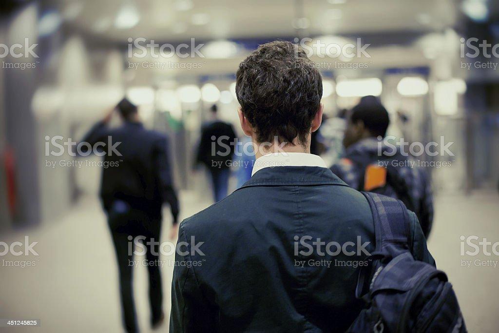 people in metro stock photo