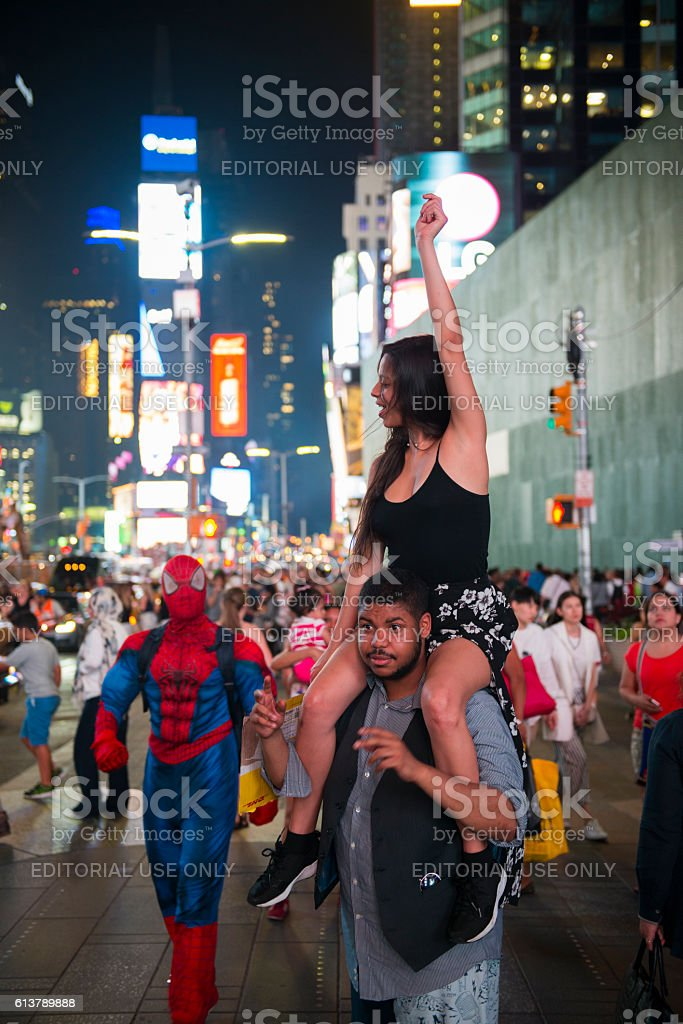 People in New York City's Times Square stock photo