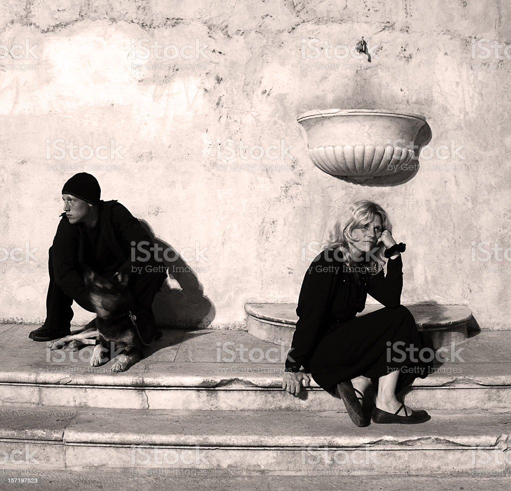 People in Piazza (Misunderstanding) stock photo