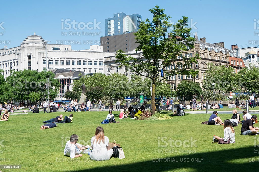 People in Piccadilly Gardens, Manchester stock photo