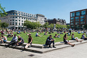People in Piccadilly Gardens, Manchester