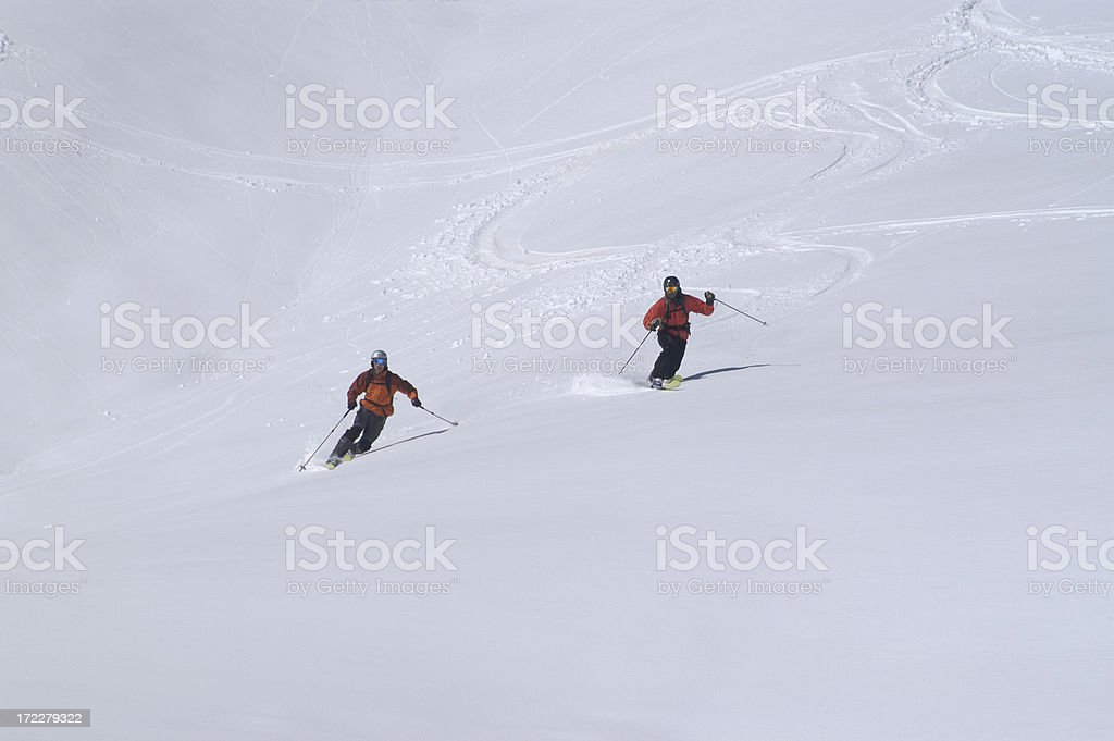 People in powder snow royalty-free stock photo