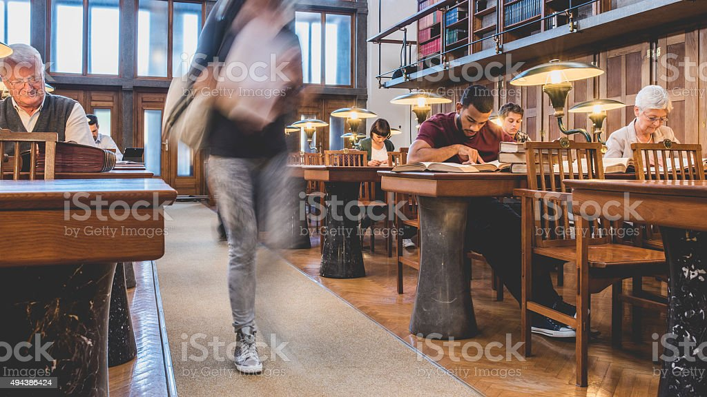People in Public Library stock photo
