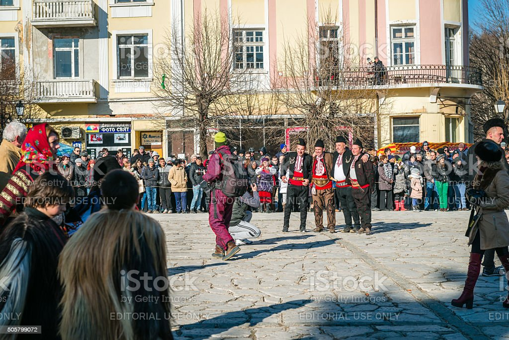 People in razlog square in Bulgaria stock photo