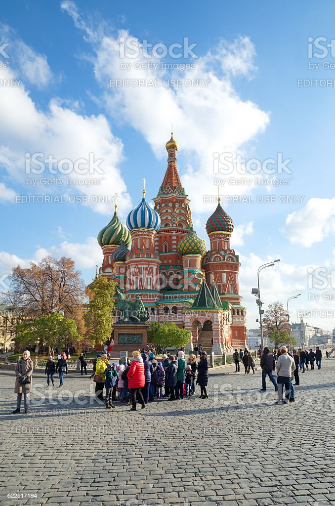 People in red square before St. Basil, Moscow, Russia stock photo