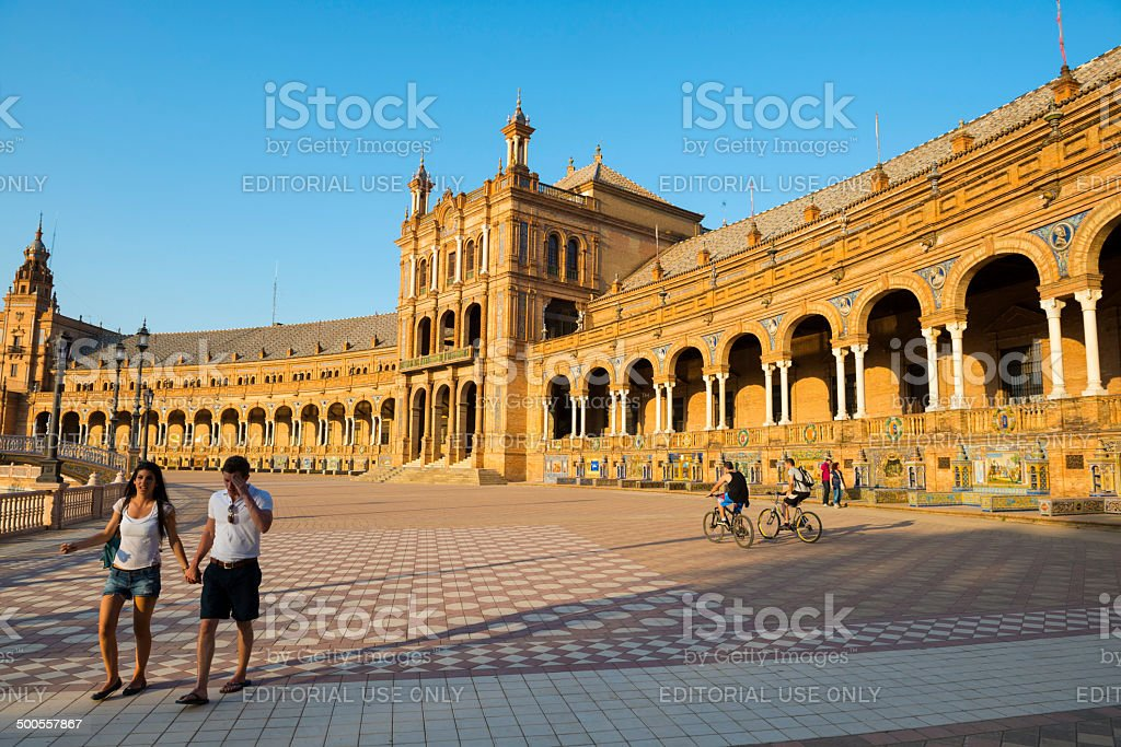 People in Seville's Plaza de Espana stock photo