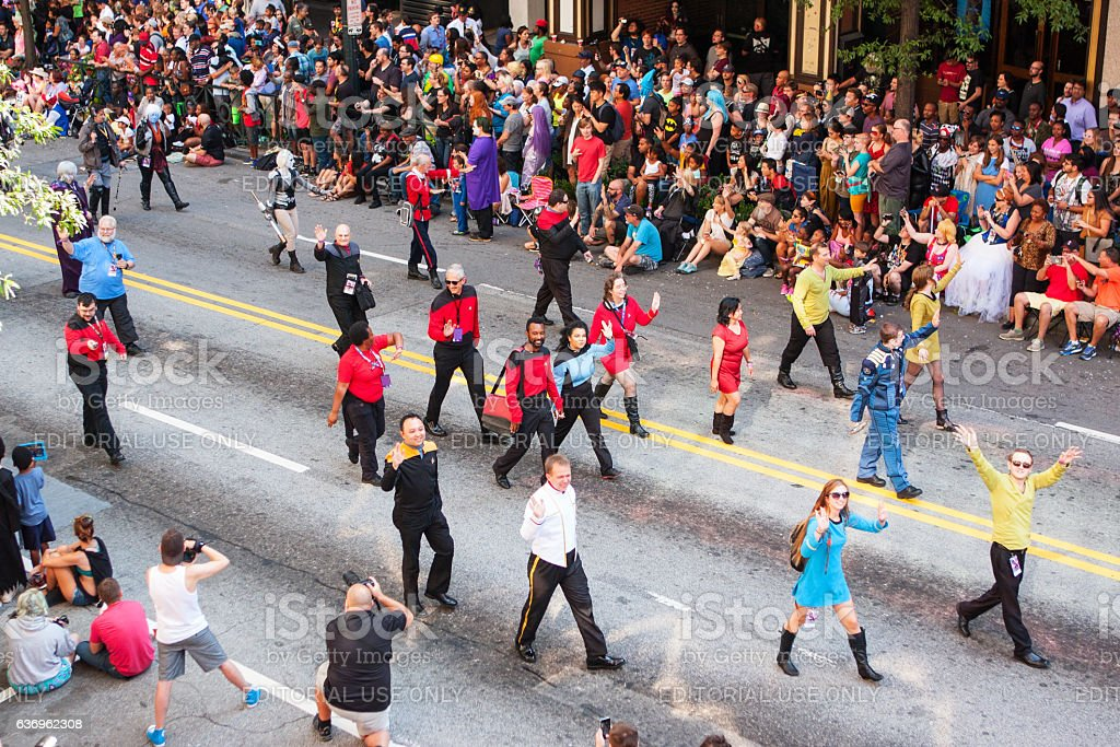 People In Star Trek Costumes Walk At Dragon Con Parade stock photo