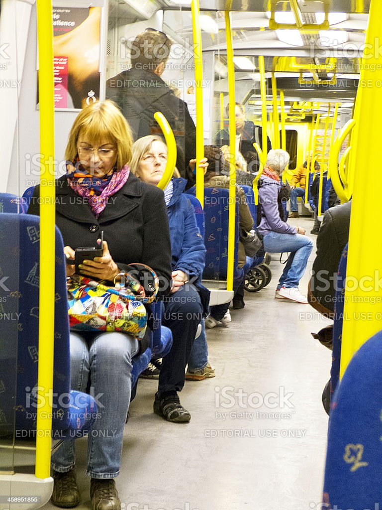 People in Stockholm subway. royalty-free stock photo