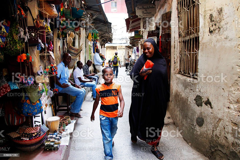 People in Stone Town. Zanzibar stock photo