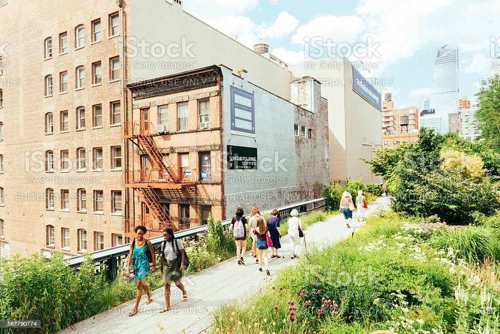 NYC People in Summer Walking The High Line Park Manhattan stock photo