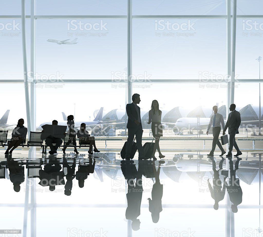 People in the airport royalty-free stock photo