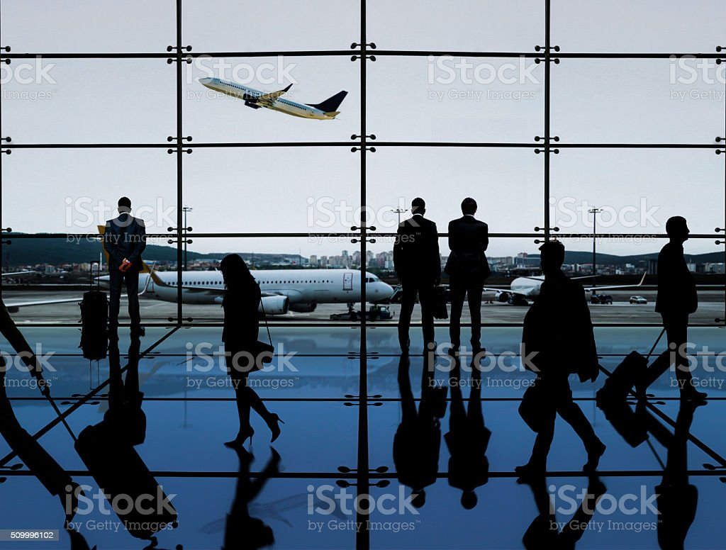 People in the airport stock photo