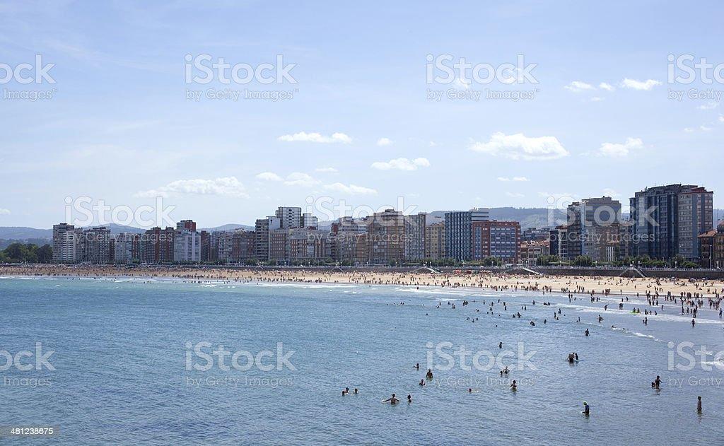 People in the beach of Gijon stock photo
