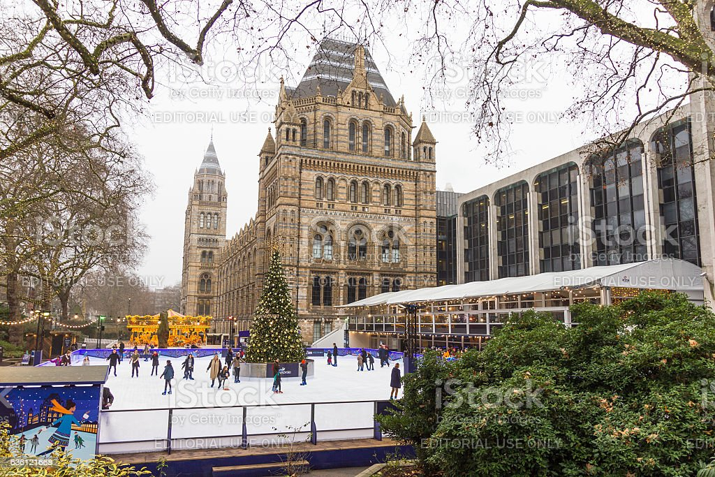 People in the Christmas skating rink, Natural History Museum, London stock photo
