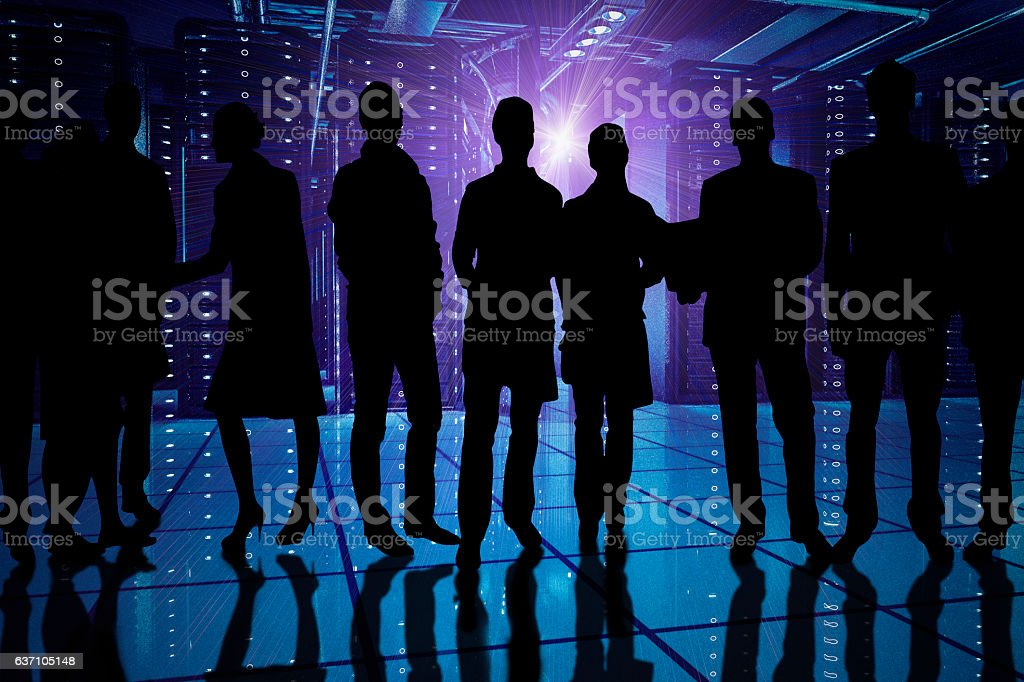 People in the data center stock photo