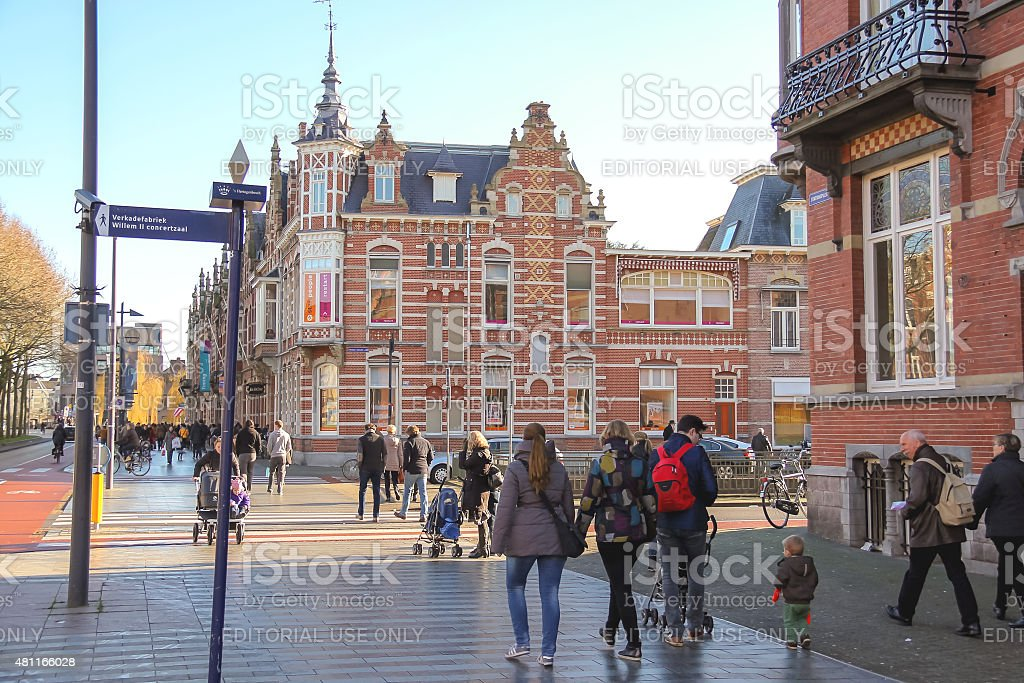 People  in the Dutch town Den Bosch. stock photo