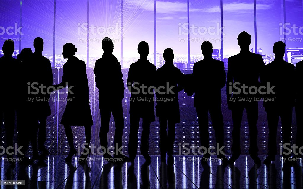 People in the futuristic data stock photo