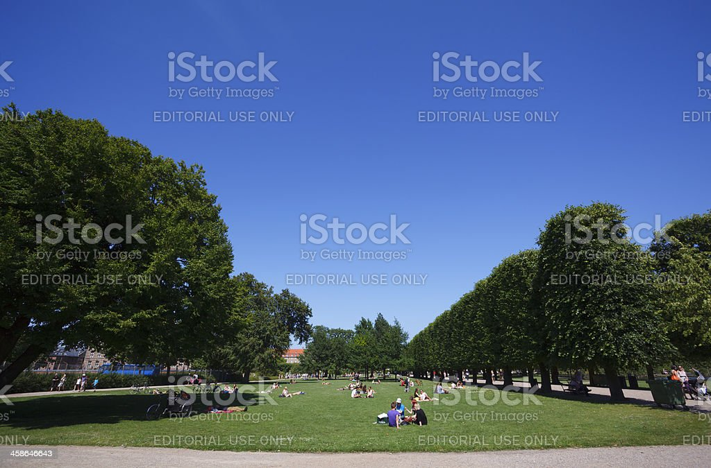 People in the King's Garden, Copenhagen stock photo
