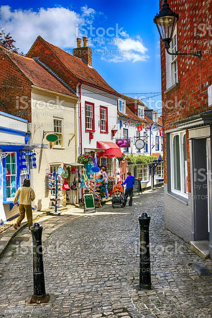 People in the old historic district of Lymington, UK stock photo