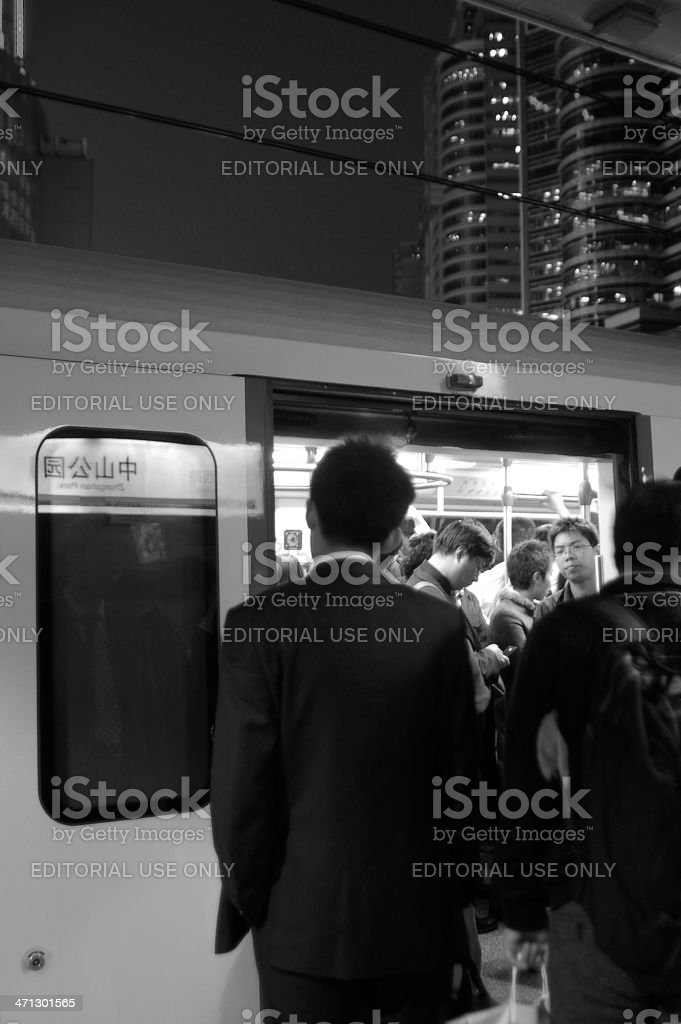 People in the subway platform stock photo