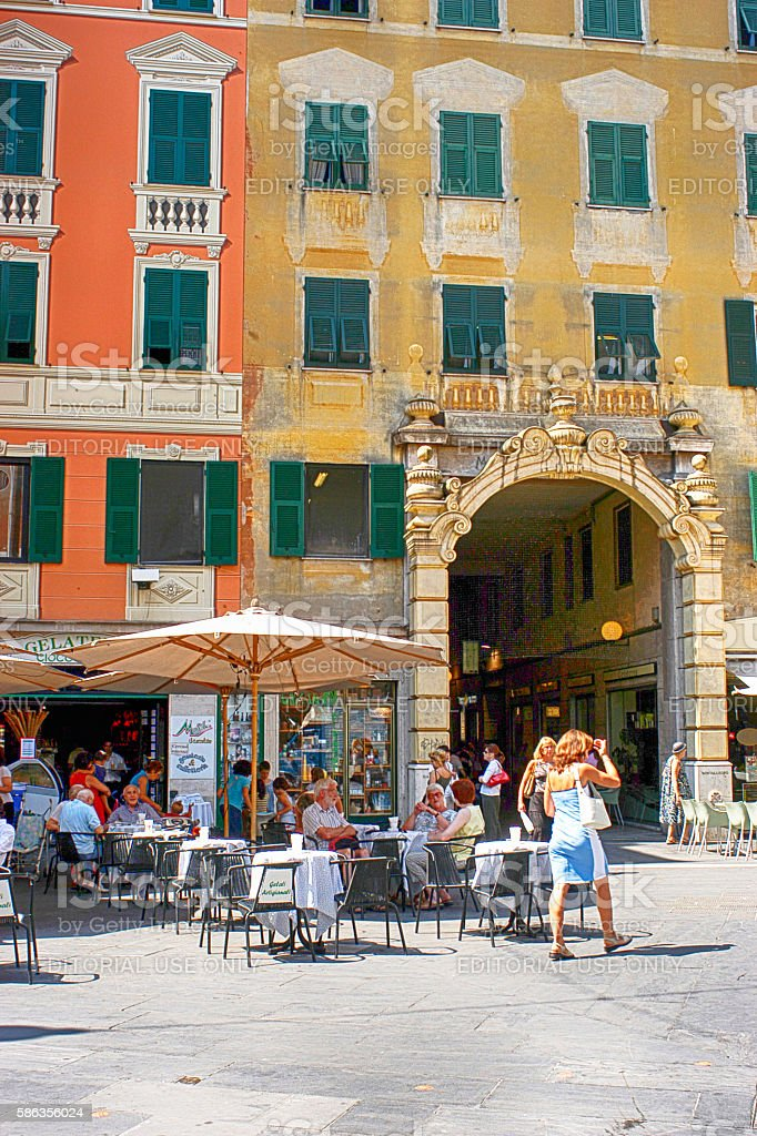People in the town square of Rapallo, Italy stock photo