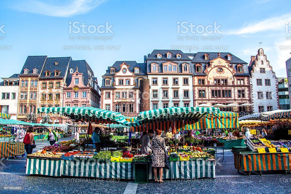 people in the typical market in the old town of Mainz stock photo