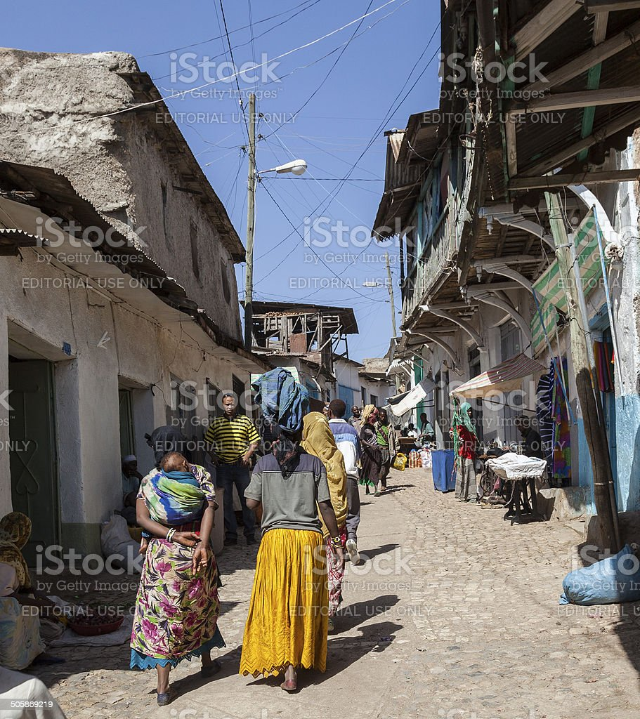 People in their daily routine activities. Harar. Ethiopia. stock photo