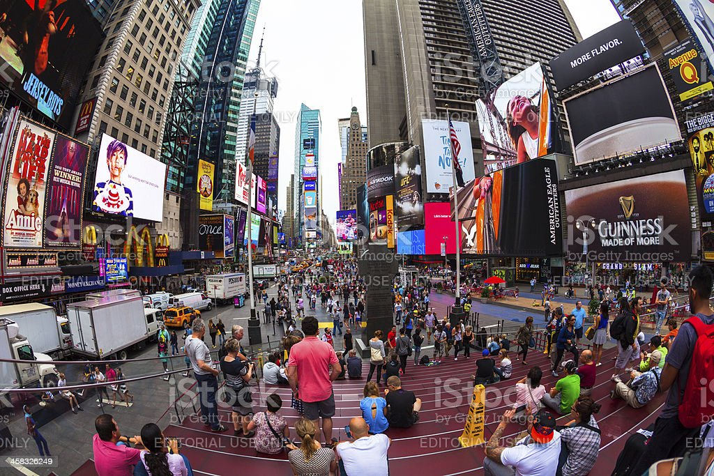 People in Times Square of New York City, Manhattan stock photo
