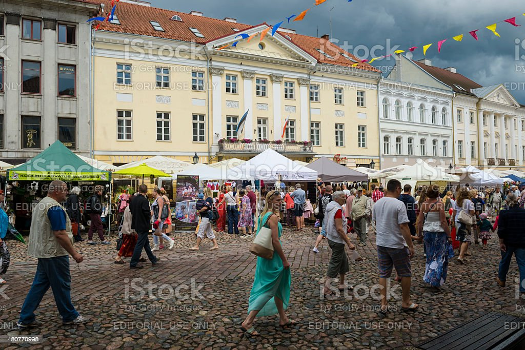 People in town square in Tartu, Estonia stock photo