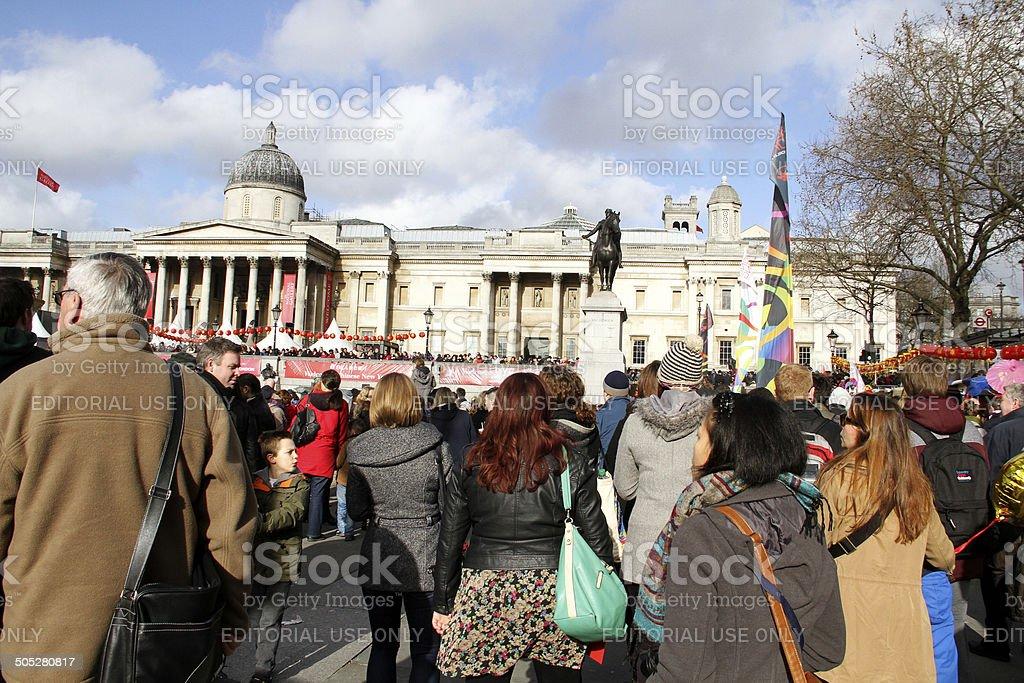 Persone in Trafalgar Square durante il Capodanno cinese foto stock royalty-free