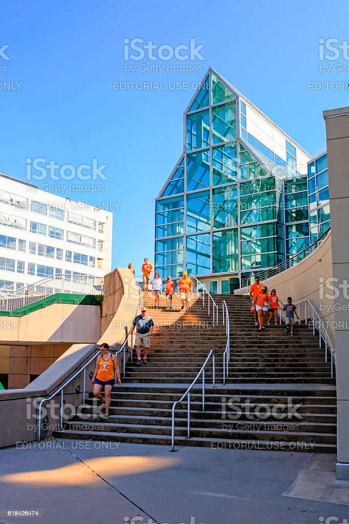 People in UT orange-apparel outside the Convention center, Knoxville, TN stock photo