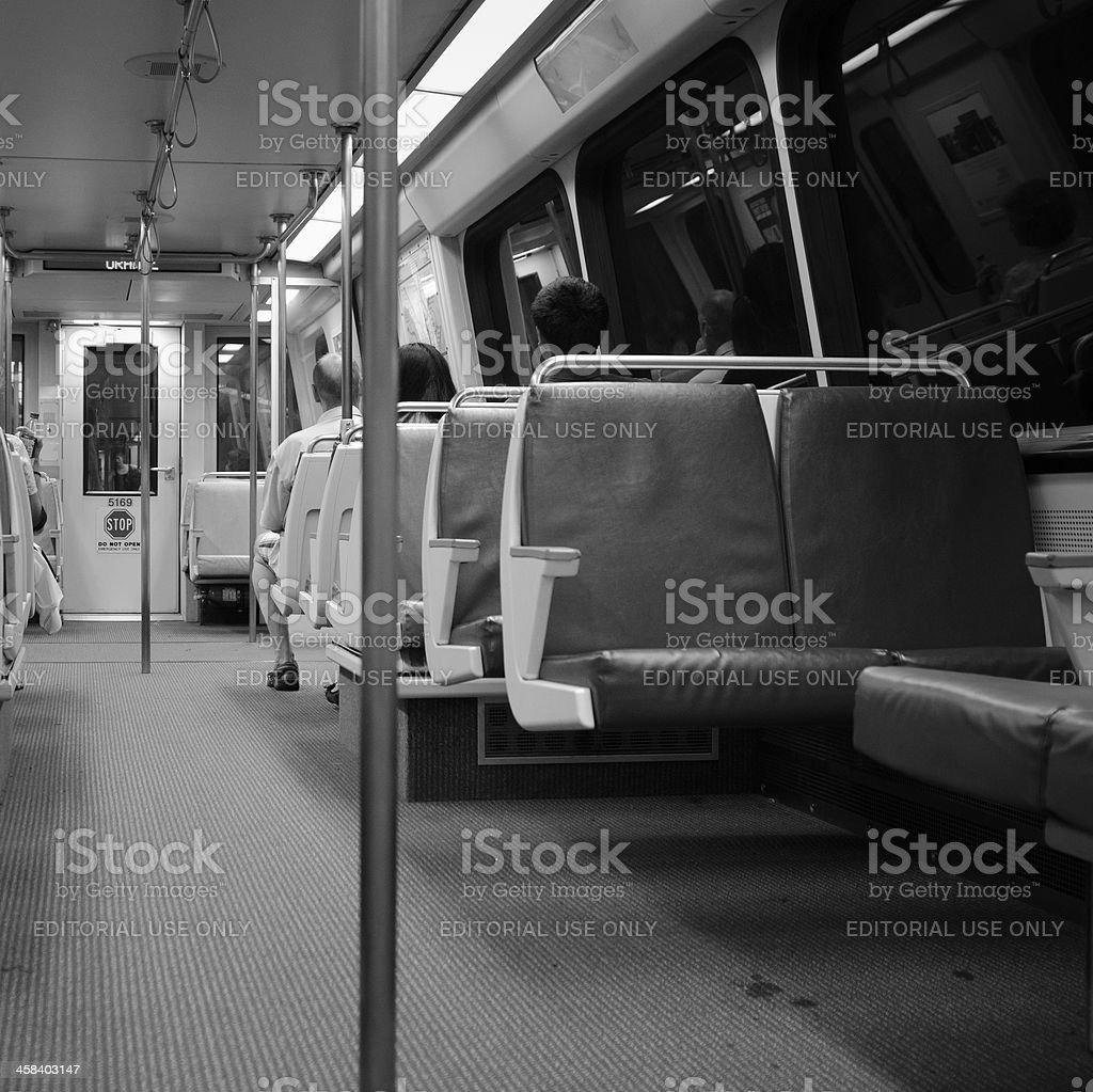 People inside the Washington DC metro train royalty-free stock photo