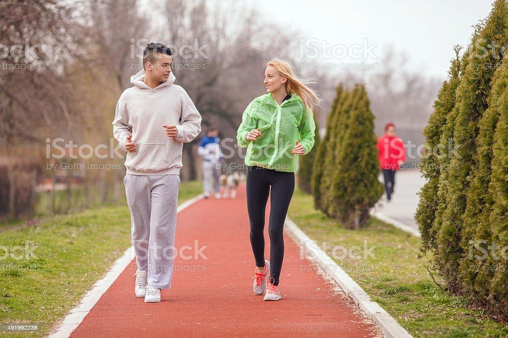 People Jogging stock photo