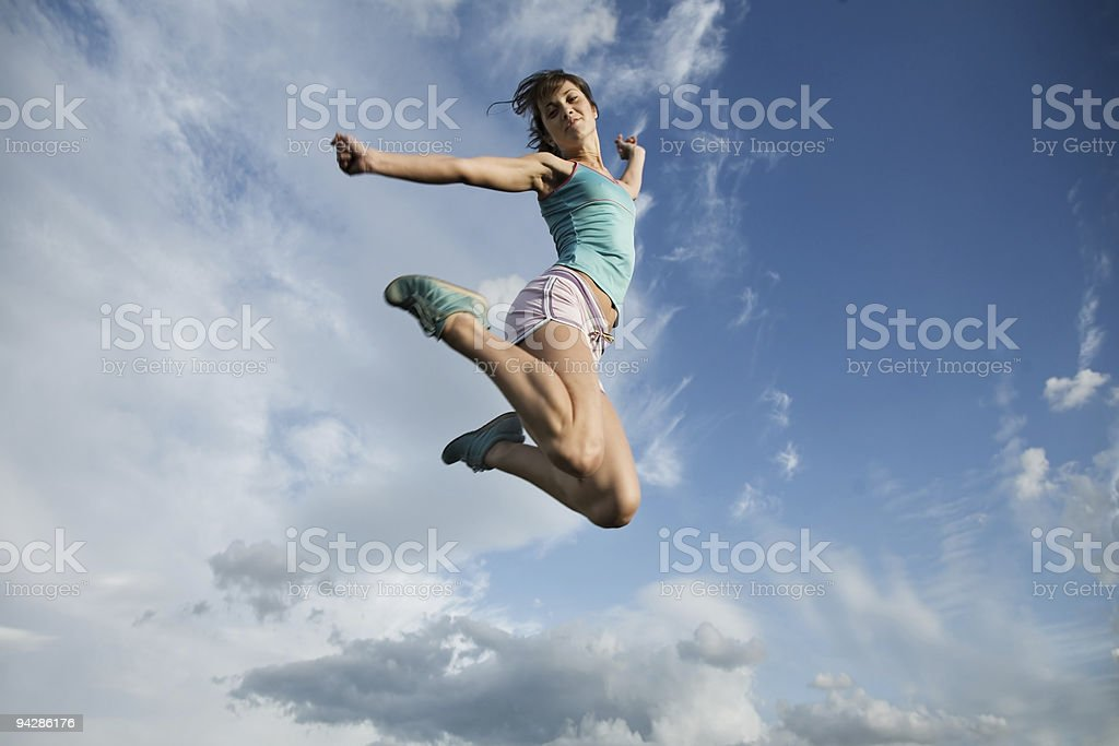 People - jump to blue sky royalty-free stock photo