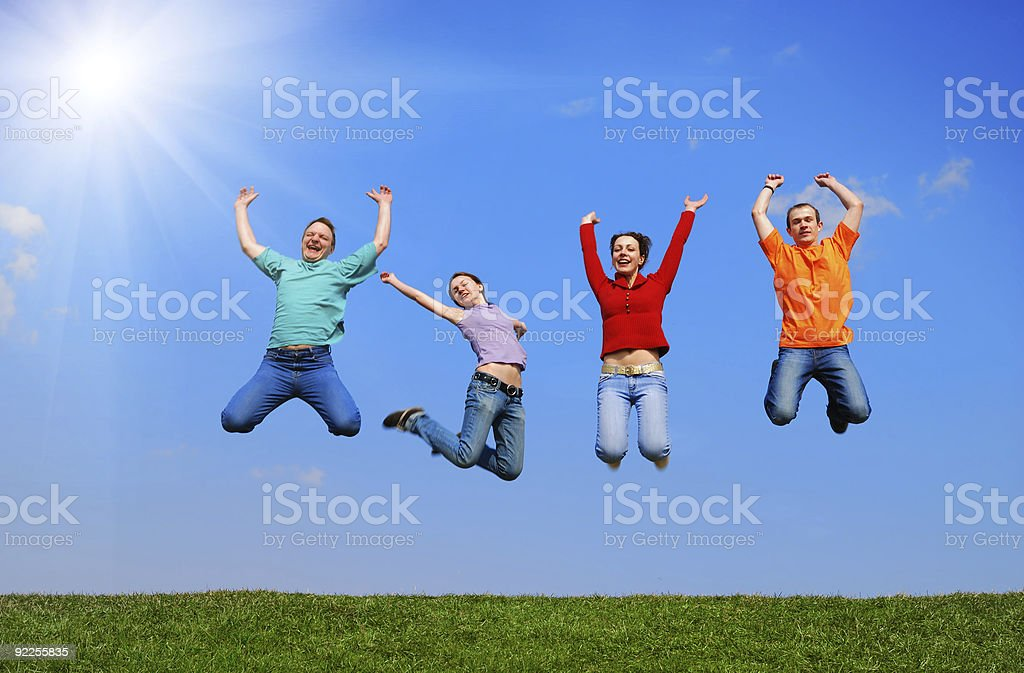 People jumping royalty-free stock photo