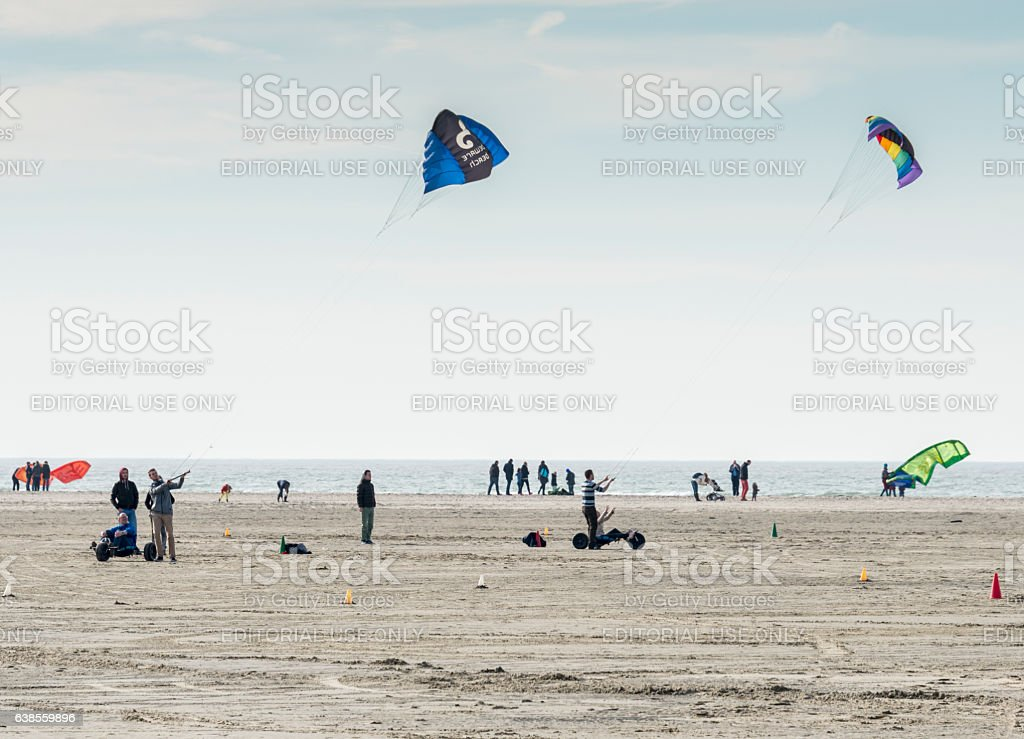 People kite surfing in Holland stock photo