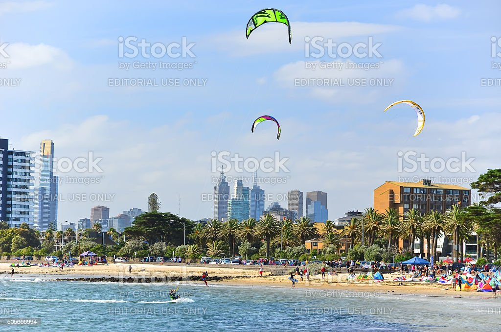 People kite surfing on St Kilda Beach in Melbourne stock photo