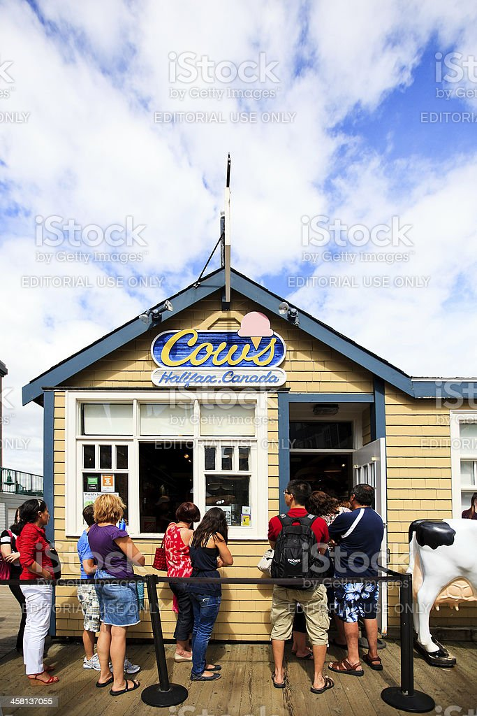 People lined up at Cows on the Halifax Waterfront royalty-free stock photo
