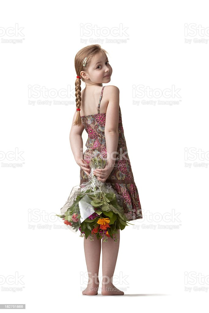People: Little Girl(1) and Flowers stock photo