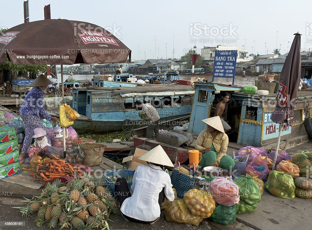 People Loading Boats In Vinh Long royalty-free stock photo