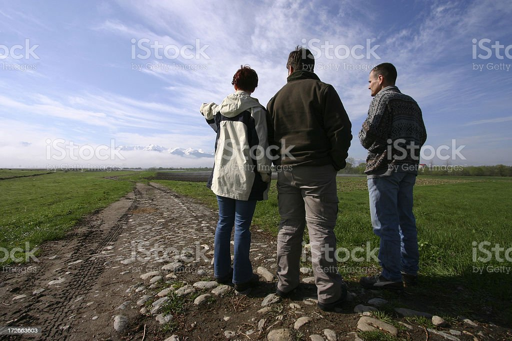 People looking at mountains royalty-free stock photo