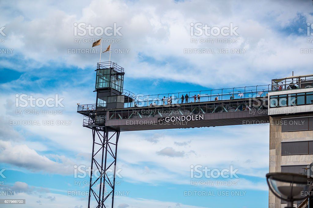 People looking at Stockholm cityscape from above, Sweden stock photo