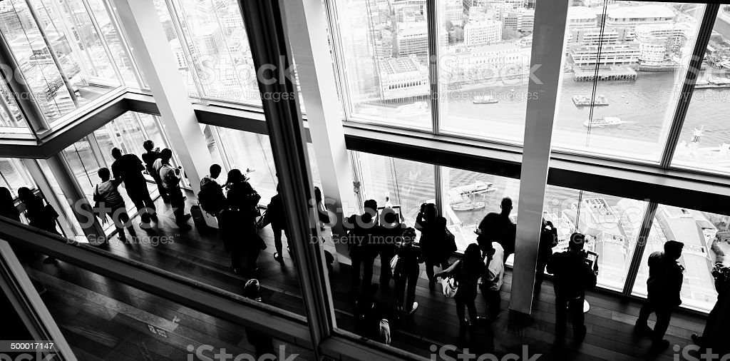 People Looking at View. London - England. Aerial View stock photo