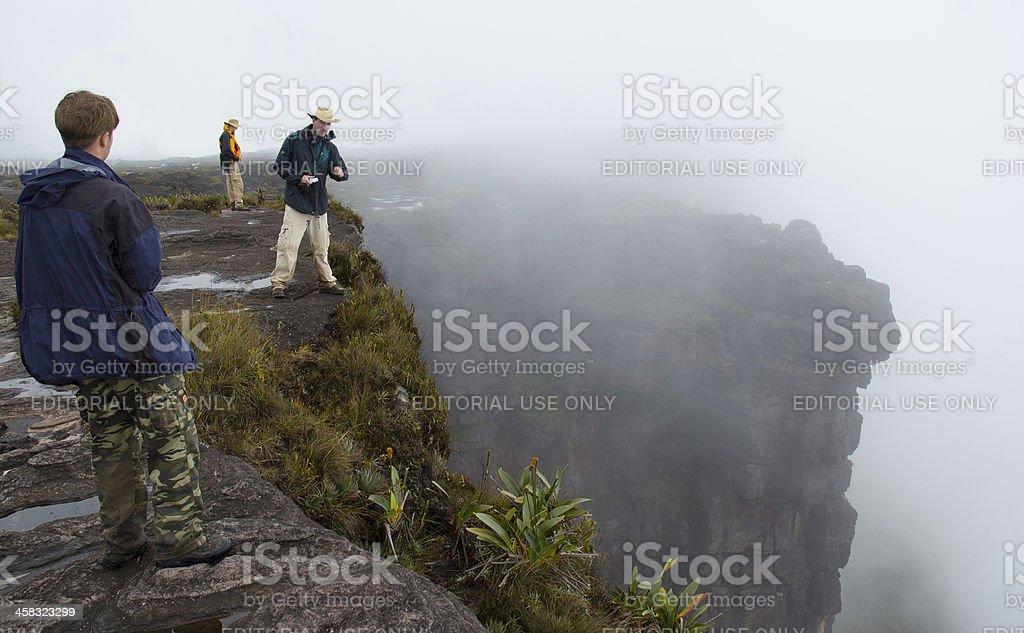 People looking down at Mt.Roraima stock photo