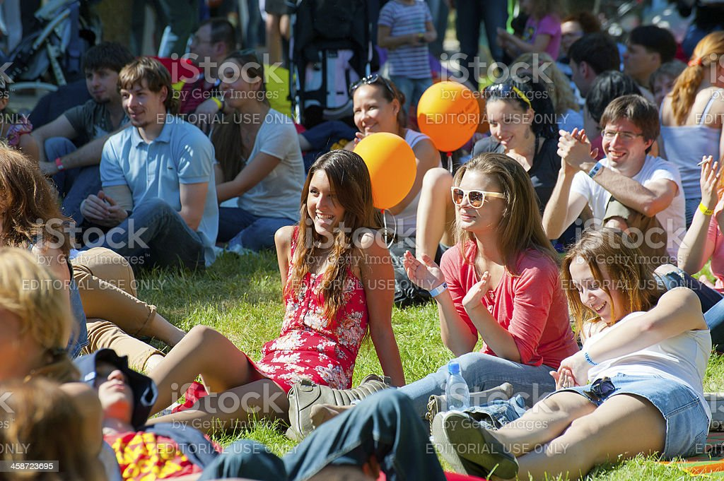 People lounging at 'Usadba Jazz' festival, Moscow royalty-free stock photo