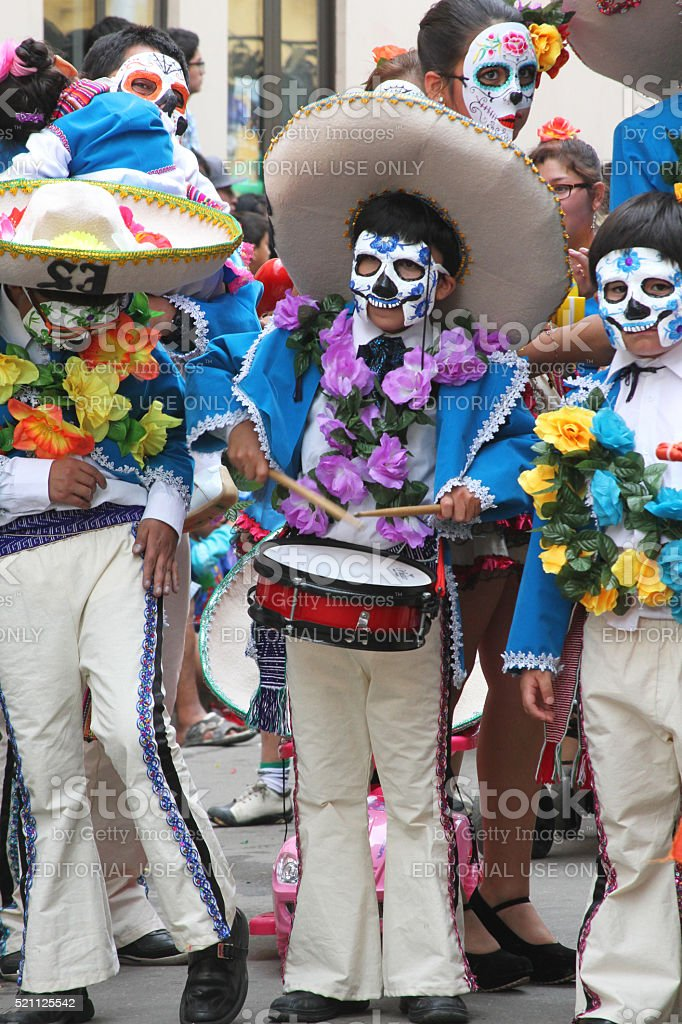 People March in Day of the Dead Costumes, Carnival, Peru stock photo