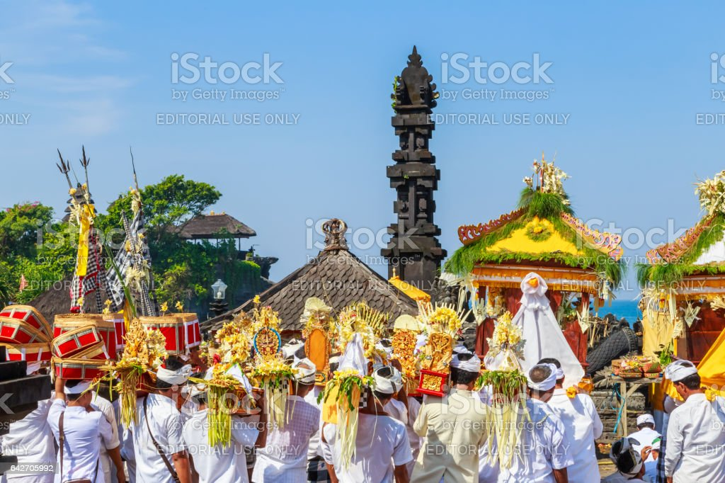 people marching on a Balinese 'Day of Silence' stock photo
