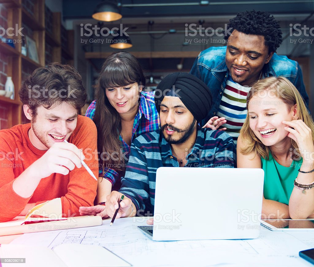 People Meeting Blueprint Creativity Design Architect Concept stock photo